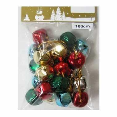 1x gekleurde slingers met 18 gekleurde metalen klokjes/belletjes 180 cm