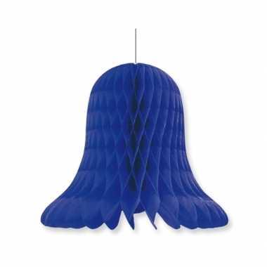 1x kerstversiering donkerblauwe kerstklokken lampionnen 20 cm