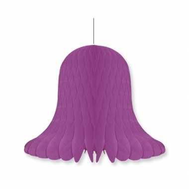 1x kerstversiering violet kerstklokken lampionnen 20 cm