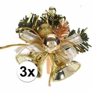 3x gouden kerstklokjes/kerststukjes decoraties 8 cm