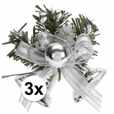 3x zilveren kerstklokjes/kerststukjes decoraties 8 cm