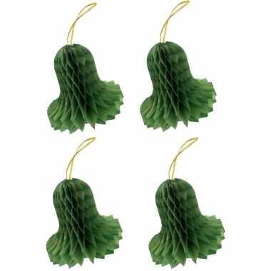 4x kerstklokken van groen zijdevloeipapier 8 cm