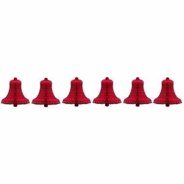 6x kerstklok kerst versiering van rood honingraat papier