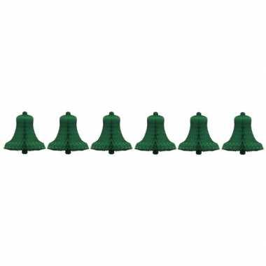 6x kerstklok van groen honingraat papier