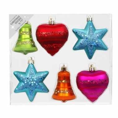 6x kunststof kersthangers/kerstballen figuurtjes gekleurd 9 cm
