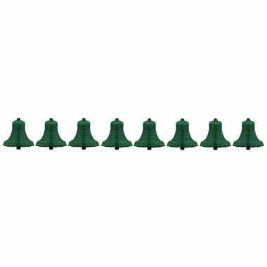 8x kerstklok van groen honingraat papier