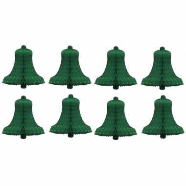 8x kerstklokken van groen zijdevloeipapier 16 cm