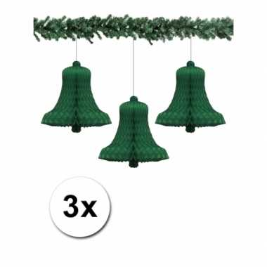 Groene kerstklokjes 36 cm van papier 3x