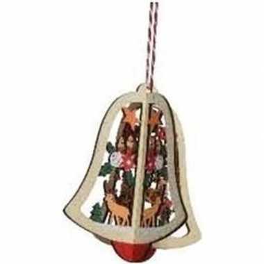 Houten bel met rendier kerstversiering hangdecoratie 10 cm