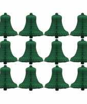 12x kerstklokken van groen zijdevloeipapier 16 cm
