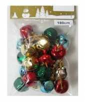 1x gekleurde slingers met 18 gekleurde metalen klokjes belletjes 180 cm