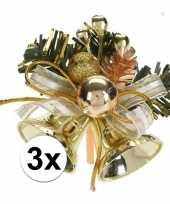 3x gouden kerstklokjes kerststukjes decoraties 8 cm