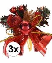 3x rode kerstklokjes kerststukjes decoraties 8 cm