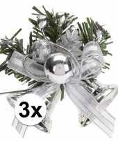 3x zilveren kerstklokjes kerststukjes decoraties 8 cm